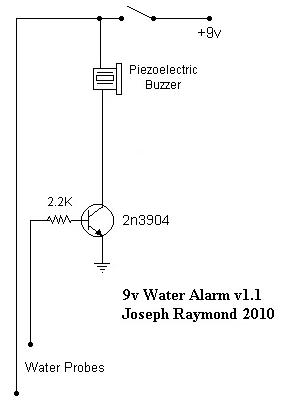 Easy to Build 9v Water Alarm, v1.1