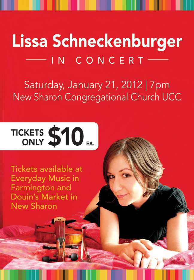 Lissa Schneckenburger in concert, January 21, 2012 at New Sharon Congregational Church UCC.