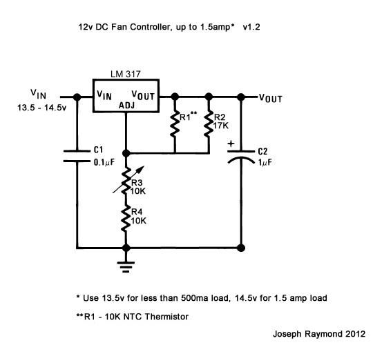 12v LM317 Fan Controller v1.2