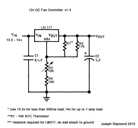 12v LM317 Fan Controller v 1.3