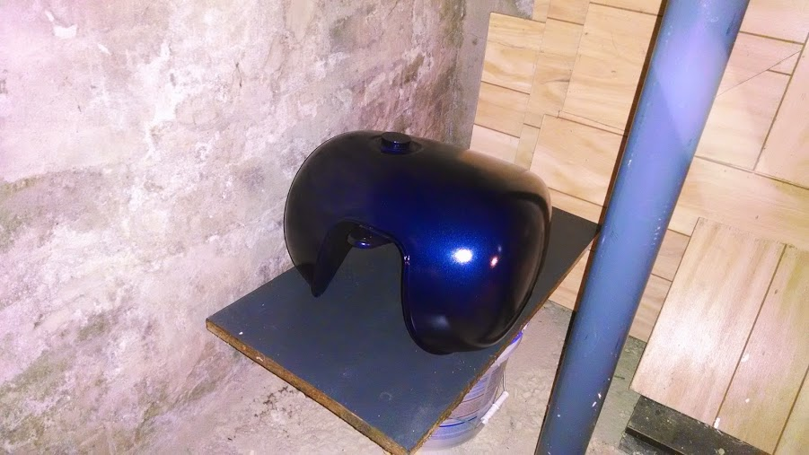 Finished 1989 Honda Shadow tank, finishing it's paint cure in my basement over the winter.