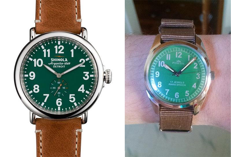 Left: 47mm Shinola Runwell Men's Green Face, Right: 34mm 1975 Fortis Mechanical Hand Wind w/Brown Nato