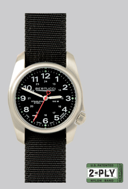 Bertucci A-1S model 10004, black face and black strap. MSRP $90 USD.
